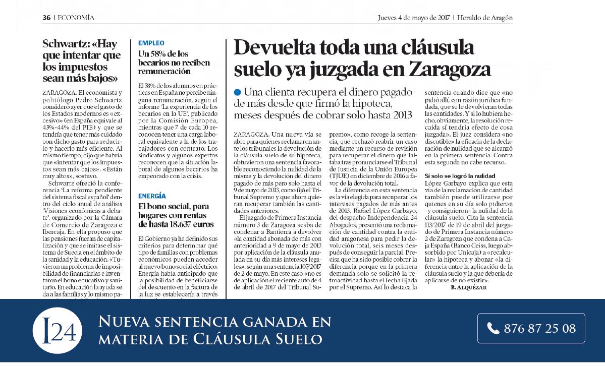 Devuelta toda una cl usula suelo ya juzgada en zaragoza for Decreto clausula suelo